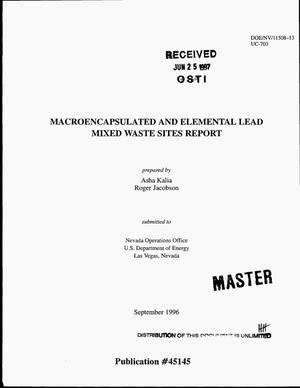 Primary view of object titled 'Macroencapsulated and elemental lead mixed waste sites report'.