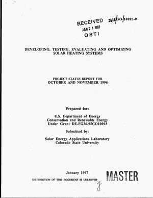 Primary view of object titled 'Developing, testing, evaluating and optimizing solar heating systems. Project status report for October and November 1996'.