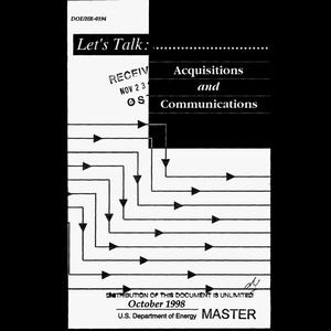 Primary view of object titled 'Let`s talk: Acquisitions and communications'.