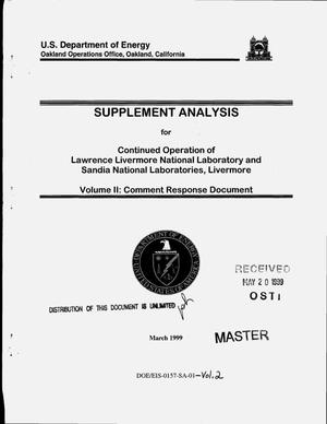 Primary view of object titled 'Supplement analysis for continued operation of Lawrence Livermore National Laboratory and Sandia National Laboratories, Livermore. Volume 2: Comment response document'.