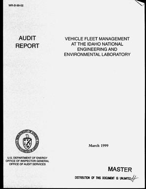 Primary view of object titled 'Office of Inspector General audit report on vehicle fleet management at the Idaho National Engineering and Environmental Laboratory'.