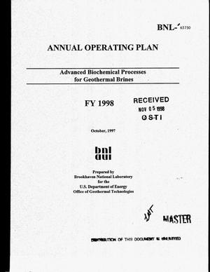 Primary view of object titled 'Advanced biochemical processes for geothermal brines FY 1998 annual operating plan'.