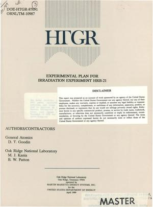 Primary view of object titled 'Experimental plan for irradiation experiment HRB-21'.