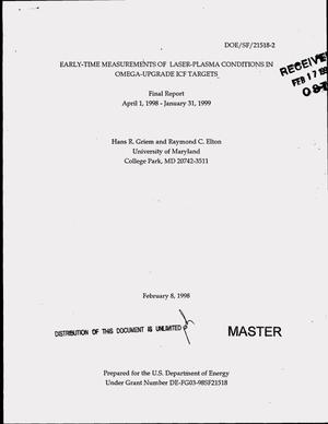 Primary view of object titled 'Early-time measurements of laser-plasma conditions in OMEGA-upgrade ICF targets. Final report, April 1, 1998--January 31, 1999'.