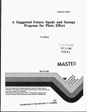 Primary view of object titled 'A suggested future Spade and Snoopy program for Pluto effort'.