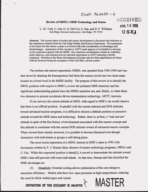 Primary view of object titled 'Review of ORNL`s MSR technology and status'.