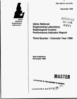 Primary view of object titled 'Idaho National Engineering Laboratory radiological control performance indicator report: Third quarter -- Calendar year 1996'.
