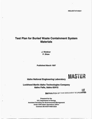 Primary view of object titled 'Test plan for buried waste containment system materials'.