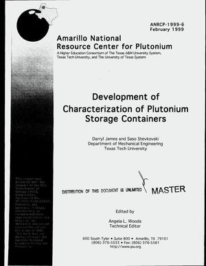 Primary view of object titled 'Development of characterization of plutonium storage containers'.