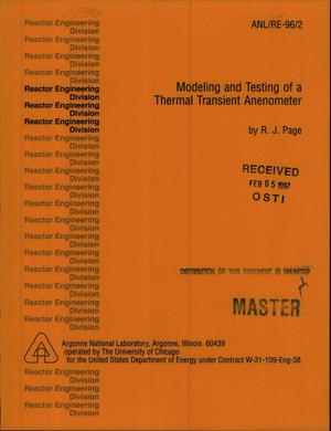 Primary view of object titled 'Modeling and testing of a thermal transient anemometer'.