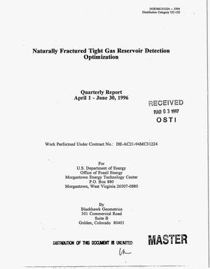 Primary view of object titled 'Naturally fractured tight gas reservoir detection optimization. Quarterly report, April 1--June 30, 1996'.