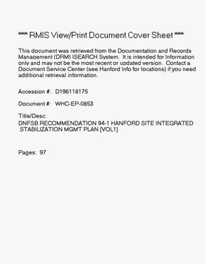 Primary view of object titled 'DNFSB Recommendation 94-1 Hanford site integrated stabilization management plan, volumes 1 and 2'.