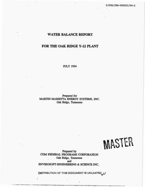 Primary view of object titled 'Water balance report for the Oak Ridge Y-12 Plant'.