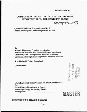 Primary view of object titled 'Combustion characterization of coal fines recovered from the handling plant. Quarterly technical progress report No. 8, July 1, 1996-- September 30, 1996'.