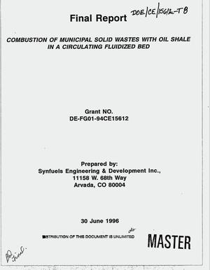 Primary view of object titled 'Combustion of municipal solid wastes with oil shale in a circulating fluidized bed. Final report'.