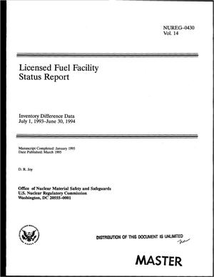 Primary view of object titled 'Licensed fuel facility. Volume 14. Inventory difference data, status report, July 1, 1993--June 30, 1994'.