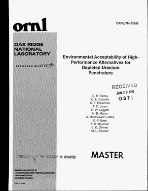 Primary view of object titled 'Environmental acceptability of high-performance alternatives for depleted uranium penetrators'.