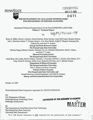 Primary view of object titled 'The development of coal-based technologies for Department of Defense facilities. Volume 1, Technical report. Semiannual technical progress report, September 28, 1994--March 27, 1995'.