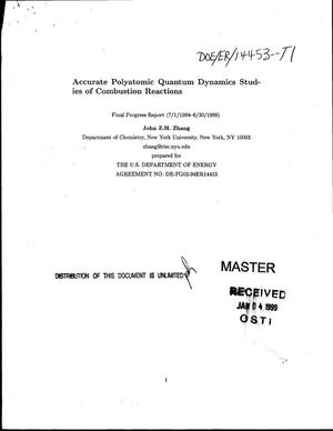 Primary view of object titled 'Accurate polyatomic quantum dynamics studies of combustion reactions. Final progress report, July 1, 1994--June 30, 1998'.