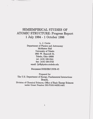 Primary view of object titled 'Semiempirical studies of atomic structure. Progress report, July 1, 1994--October 1, 1996'.