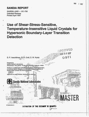 Primary view of object titled 'Use of shear-stress-sensitive, temperature-insensitive liquid crystals for hypersonic boundary-layer transition detection'.