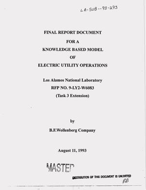 Primary view of object titled 'A knowledge based model of electric utility operations. Final report'.