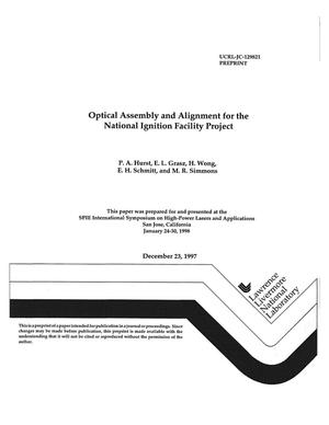 Primary view of object titled 'Optical assembly and alignment for the National Ignition Facility project'.