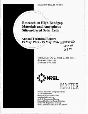 Primary view of object titled 'Research on high-bandgap materials and amorphous silicon-based solar cells. Annual technical report, 15 May 1995--15 May 1996'.