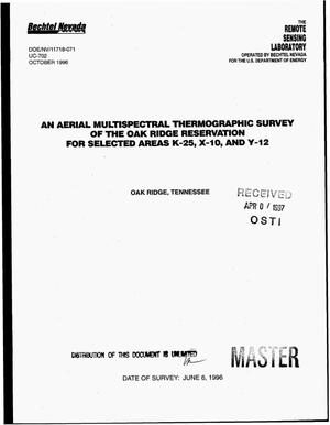 Primary view of object titled 'An aerial multispectral thermographic survey of the Oak Ridge Reservation for selected areas K-25, X-10, and Y-12, Oak Ridge, Tennessee'.