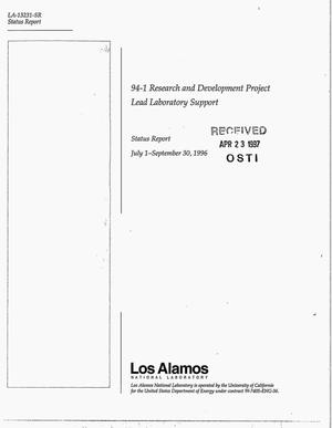 Primary view of object titled '94-1 Research and development project lead laboratory support. Status report, July 1, 1996--September 30, 1996'.