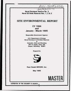 Primary view of object titled 'Site environmental report. CY 1994, January--March 1995'.