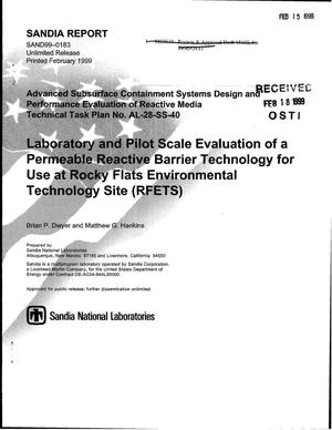 Primary view of object titled 'Laboratory and Pilot Scale Evaluation of a Permeable Reactive Barrier Technology for Use at Rocky Flats Environmental Technology Site (RFETS)'.