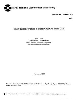 Primary view of object titled 'Fully reconstructed B decay results from CDF'.