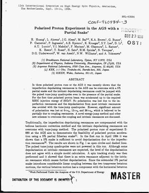 Primary view of object titled 'Polarized proton experiment in the AGS with a partial snake'.