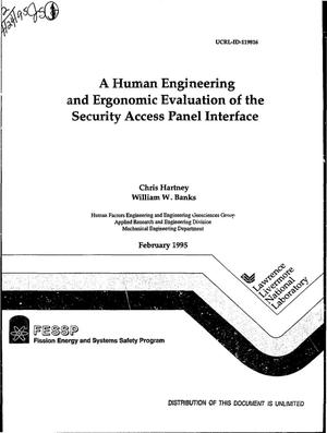 Primary view of object titled 'A human engineering and ergonomic evaluation of the security access panel interface'.
