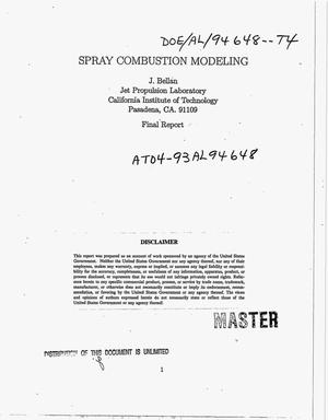 Primary view of object titled 'Spray combustion modeling. Final report'.