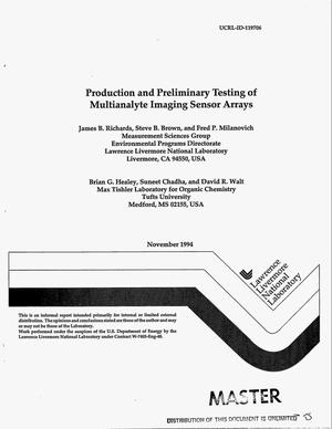 Primary view of object titled 'Production and preliminary testing of multianalyte imaging sensor arrays'.