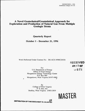 Primary view of object titled 'A novel geotechnical/geostatistical approach for exploration and production of natural gas from multiple geologic strata. Quarterly report, October 1, 1996--December 31, 1996'.