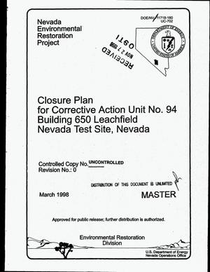 Primary view of object titled 'Closure plan for Corrective Action Unit 94: Building 650 Leachfield, Nevada Test Site, Nevada'.