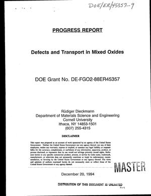 Primary view of object titled 'Defects and transport in mixed oxides. Progress report, October 1, 1993--December 20, 1994'.