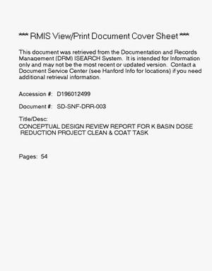 Primary view of object titled 'Conceptual design review report for K Basin Dose Reduction Project clean and coat task'.