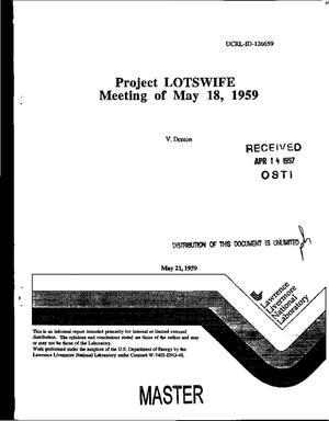 Primary view of object titled 'Project LOTSWIFE meeting of May 18, 1959'.