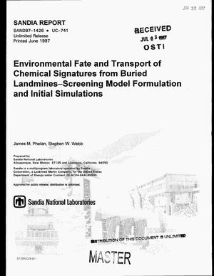Primary view of object titled 'Environmental fate and transport of chemical signatures from buried landmines -- Screening model formulation and initial simulations'.