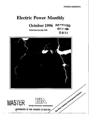 Primary view of object titled 'Electric power monthly: October 1996, with data for July 1996'.