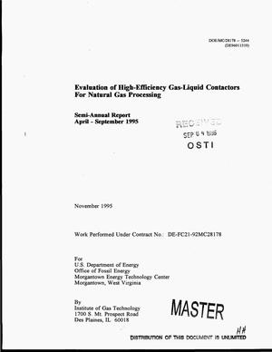Primary view of object titled 'Evaluation of high-efficiency gas-liquid contactors for natural gas processing. Semi-annual report, April--September 1995'.