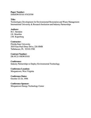 Primary view of object titled 'Technologies development for environmental restoration and waste management: International university and research institution and industry partnerships'.