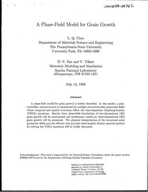 Primary view of object titled 'A Phase-Field Model for Grain Growth'.