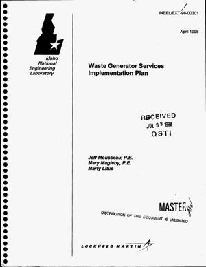 Primary view of object titled 'Waste generator services implementation plan'.