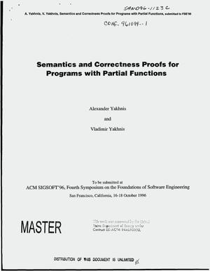 Primary view of object titled 'Semantics and correctness proofs for programs with partial functions'.