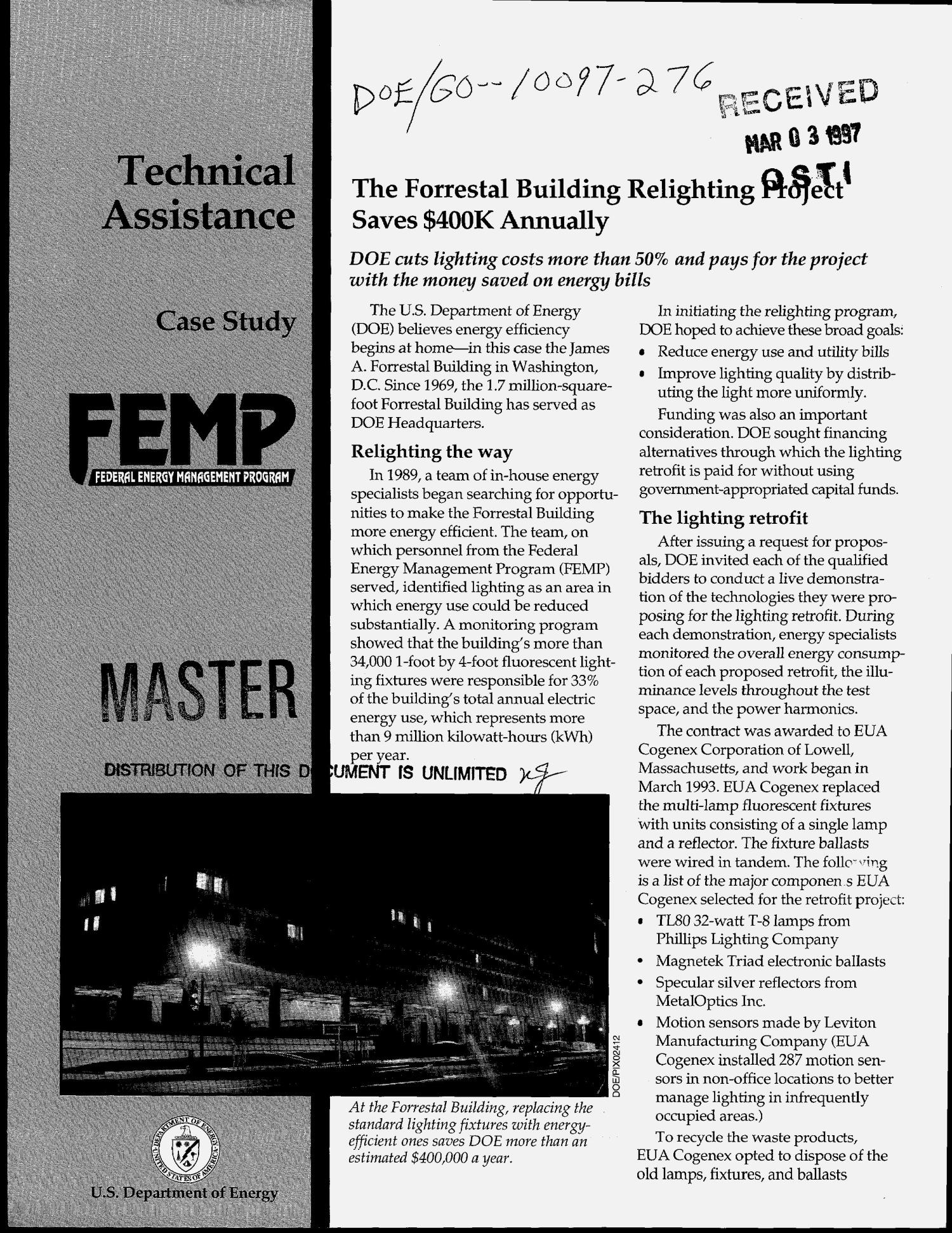 Federal Energy Management Program technical assistance case study: The Forrestal Building relighting project saves $400K annually                                                                                                      [Sequence #]: 1 of 6